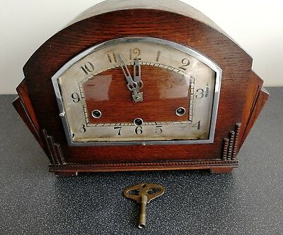 Old Wooden Cased British Anvil Chiming Mantel Clock With Original Key