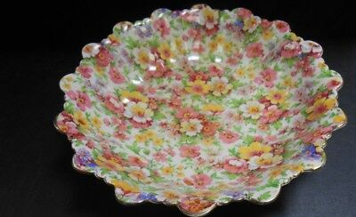 Vintage James Kent Chintz Round Bowl Fluted Edge Du Barry        At