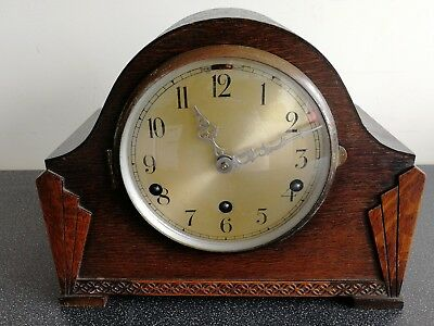 Old Wooden Cased Fontenoy Chiming Mantel Clock With Pendulum And Key