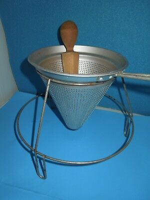 Vintage  Aluminum Cone Shaped Strainer With Pusher & Stand