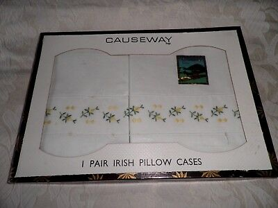 SUPERB PAIR IRISH VINTAGE PILLOW CASES with EMBROIDERED FLOWERS - BOXED