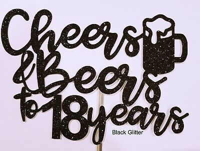 Personalised cake Topper cheers beers 50th 40th 30th 21st 18th Birthday Any Age