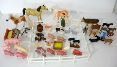 Nice Lot Of Over 50 Vintage Farm Animals With Figures And Accessories