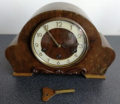 Hamburg American Clock Co. Whittington Westminster Chiming Mantel Clock And Key