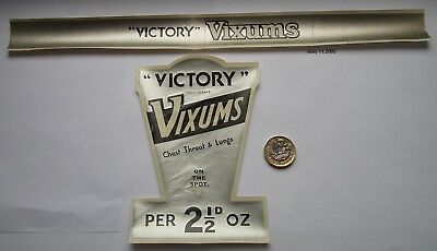 "Rare Antique  Sweet Jar Label Set "" Victory Vixums "" -Football Related"