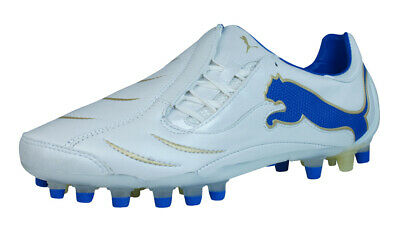 Puma PowerCat 2.10 Synth Grass Mens Leather Football Boots / Cleats-White