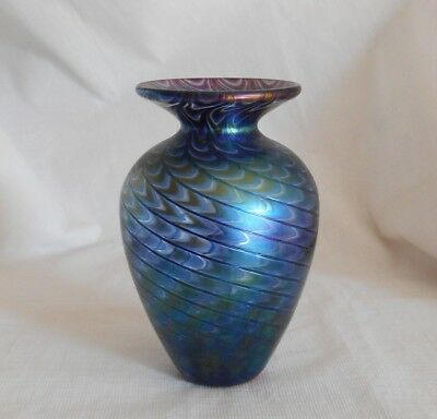 Glass Eye Studio GES Iridescent Iridized Art Glass Vase 1986