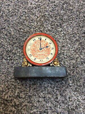 Small Enamel Surround Swiss Depose Clock Missing Glass And Not Working