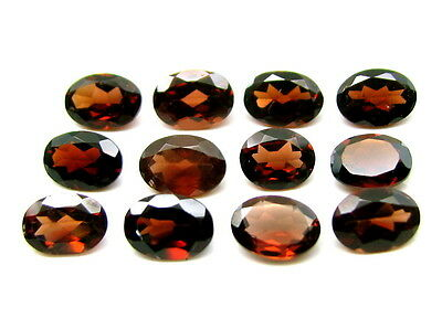 10.3Ct 12pc Lot Natural Garnet 7X5mm Oval Faceted africa deep red Gemstones