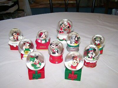 Collection of 10 Disney Small Snowglobes Mickey Mouse & Minnie Mouse 2002 - 09
