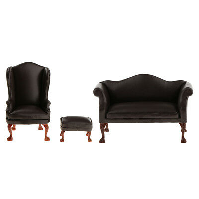 1/12 Dollhouse Living Room Furniture Wing Chair Ottoman Double Couch Sofa