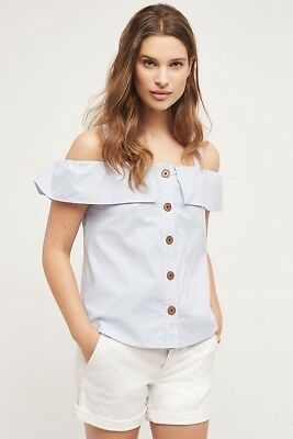 Anthropologie Maeve Womens Blue Pinstripe Button Down Canopy Tank Top Size 8 NWT