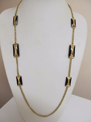 "Gold Tone & Black Enamel Solid Piece Multi Chain 28"" Necklace"