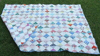 """uncommon 2-sided 1930s cotton patchwork hand sewn & quilted quilt 74"""" x 55""""  *"""