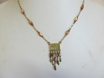 "Dainty Green Rhinestone Bead & Gold Tone Dangle 16"" Necklace"
