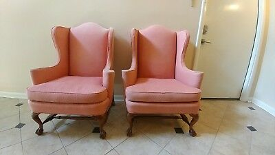 HICKORY CHAIR Pair of Wing CHIPPENDALE BALL AND CLAW FEET Wing back chairs