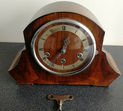Old Wooden Cased Chiming Mantel Clock With Pendulum And Key