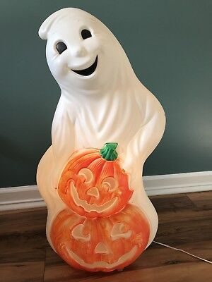 """Ghost With Pumpkins Halloween Plastic Lighted Blow Mold Decor 31"""" Grand Venture"""