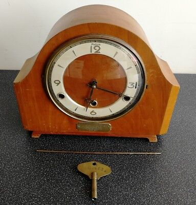 Old Wooden Cased Perivale Chiming Mantel Clock With Key By Andrew Clocks