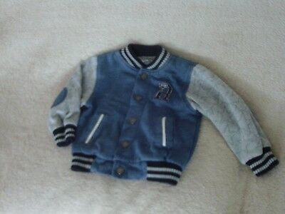 Baby Boys 18-24 Months - Blue/Grey Baseball Style Jacket/ Cardigan