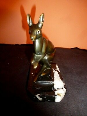 French Art Deco Spelter Kangar00 With Marble Base
