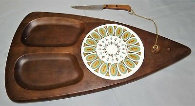 Vtg Fred Press PEACOCK Tile & Wood Cheese Cutting Board & Knife Set Mid Century
