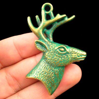 F40818 Carved Brass Bronze Spotted Deer Head Pendant Bead 51x43x5mm