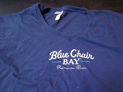 Kenny Chesney Womens Blue Chair Bay Born On The Beach T Shirt V Neck  Large H9