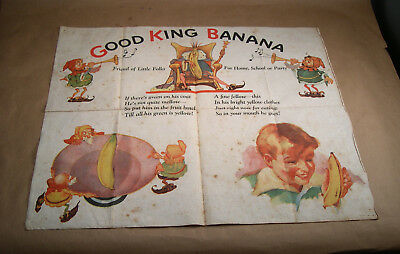 1930s Premium Good King Banana Linen Cloth Game by United Fruit Dispatch Co.