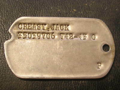 US Army WW II Dog Tag ID T42-43 Germany 2-line style Notch