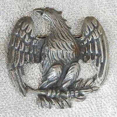 Antique Victorian Textured Silver-tone Eagle Brooch 19th century