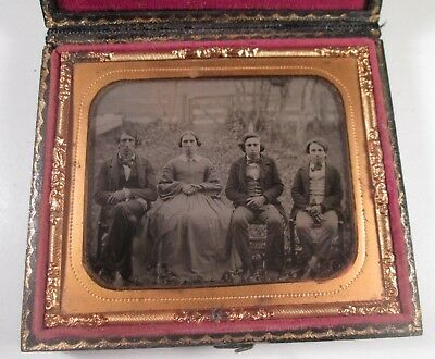 1/6 Ambrotype - Outdoor Scene - Family Group of Four Seated on Lawn