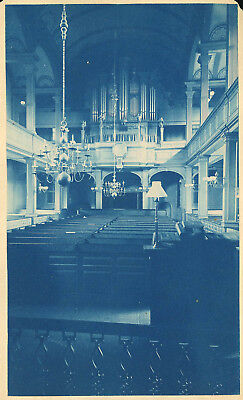 Church Interior Large Pipe Organ Blue Cyanotype Antique Photo