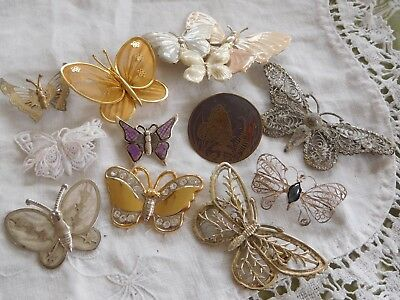 Lovely Mixed Collection of Vintage 1950s/60s BUTTERFLY Brooches