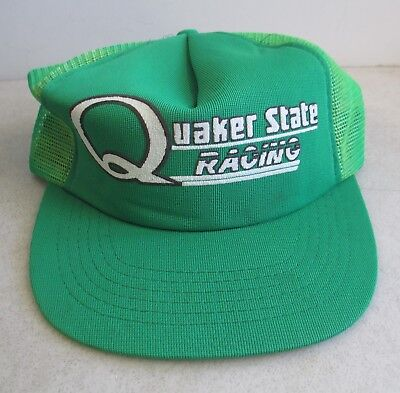 eabdcbf7c5a Quaker State Racing Green Trucker Hat Mesh Snapback Indy 500 Advertising