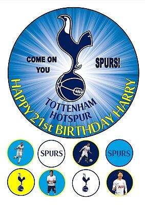 """Tottenham Hotspur Personalised Edible Birthday Icing Cake Topper 7.5"""" Round Cup"""
