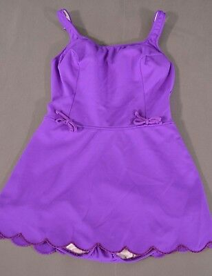 Vintage 60s Hippie Boho Scalloped Edge Bold Purple One Piece Swimsuit Small Med