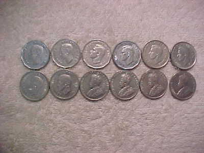 TWELVE CANADIAN NICKELS - 1928 to 1952 (INCLUDES 1945 V) - CIRCULATED