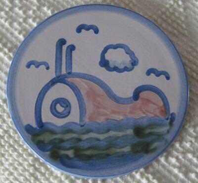 """Mary A. Hadley Hand Painted 6.5"""" Whale Trivet"""