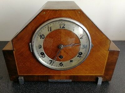 Old Wooden Cased Chiming Mantel Clock With Pendulum