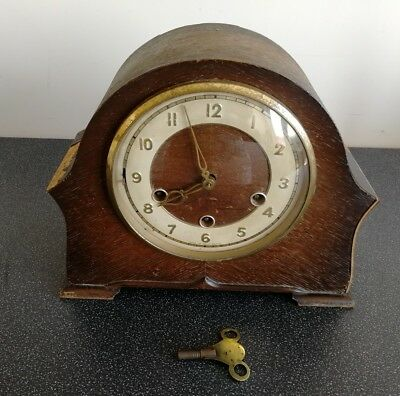 Old Wooden Cased Smiths Chiming Mantel Clock With Pendulum And Key