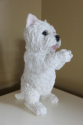 "Westie Standing Dog Figurine White Dogs Statue Resin Pet Canine New 8.6 "" H"