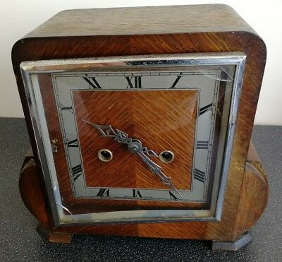 Old Wooden Cased Smiths Enfield Mantel Clock With Pendulum