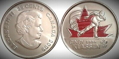 2009 Canada Golden Moments Cindy Klassen Colourized 25 Cents UNC Gem BU!!