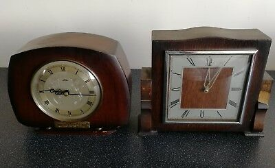 Two Old Wooden Cased Smiths Mantel Clocks - Tempora And 8 Day