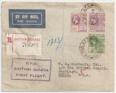 1931 British Guiana To Chile First Flight Cover, 28 Known, Top Rarity