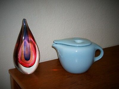 Russell Wright Iroquois Blue After Dinner Coffee Pot Casual China Rounded Mcm