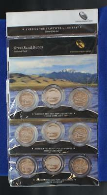 (3) 2014 America The Beautiful Great Sand Dunes Quarters 3 Coin Sealed Sets
