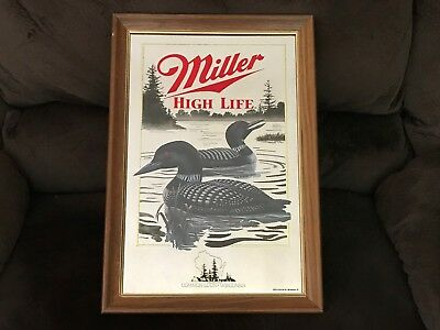 Miller Beer Common Loon Mirror Hunting Fishing Man Cave Bar 2Nd Series