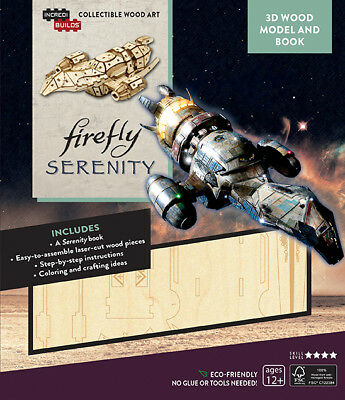 Firefly Serenity Ship 3D Laser Cut Wood Model and Deluxe Book NEW UNUSED
